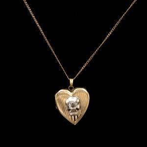 14k Gold Heart Locket with Sterling Diamond Eye Memento Mori
