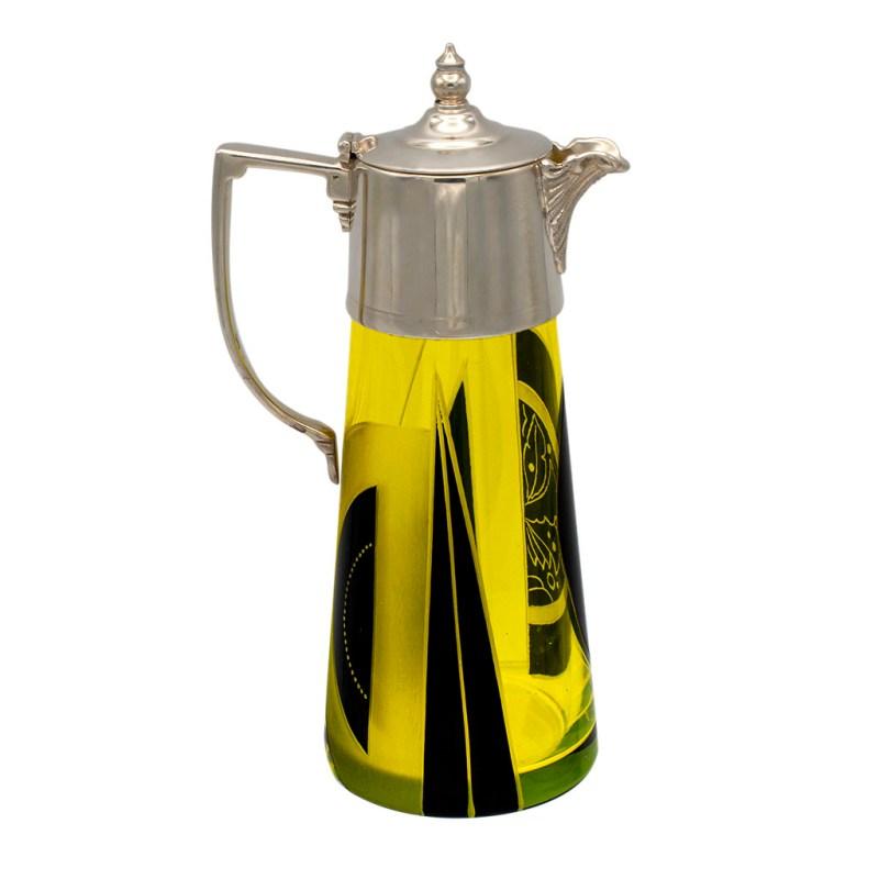Art Deco Karl Palda Yellow & Black Cut Crystal & Sterling Port Jug