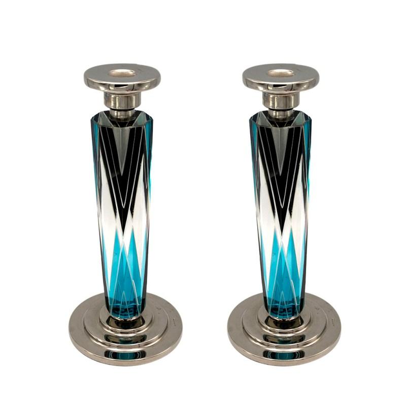 Karl Palda Art Deco black & Blue Sterling & Cut Crystal Candlesticks