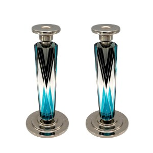 Karl Palda Art Deco Black & Blue Sterling & Cut Crystal Candlesticks