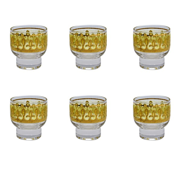 Culver Yellow & 22k Gold Fleur de lis footed martini glasses