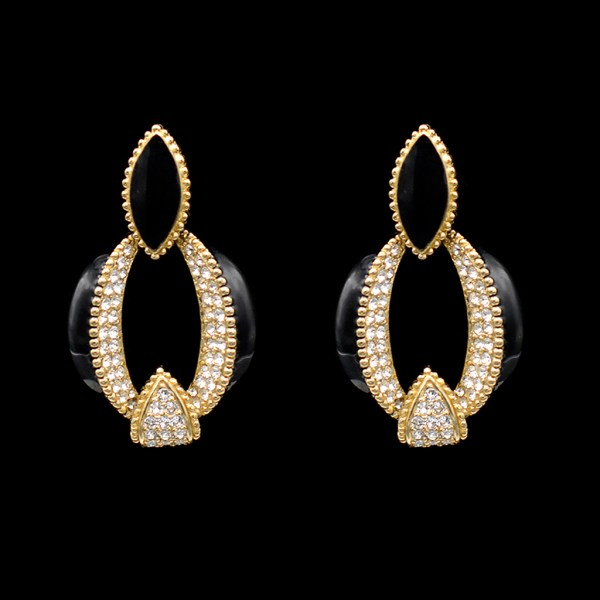 Ciner Black Enamel, Gilt, & Paste Wedge Earrings, 1990