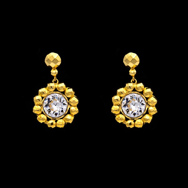 Revival Paste 14k Gold Floret & Paste Earrings