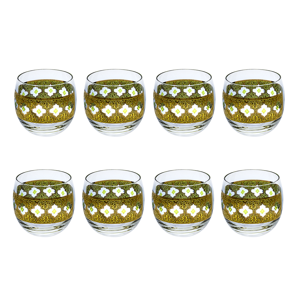 """Culver 22k Gold & Freen """"Valencia"""" Roly-Poly Glasses, Set of Eight (8)"""