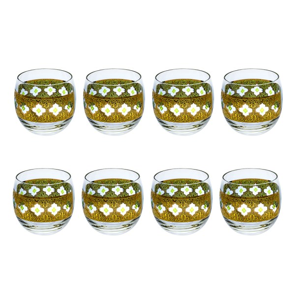 "Culver 22k Gold & Freen ""Valencia"" Roly-Poly Glasses, Set of Eight (8)"
