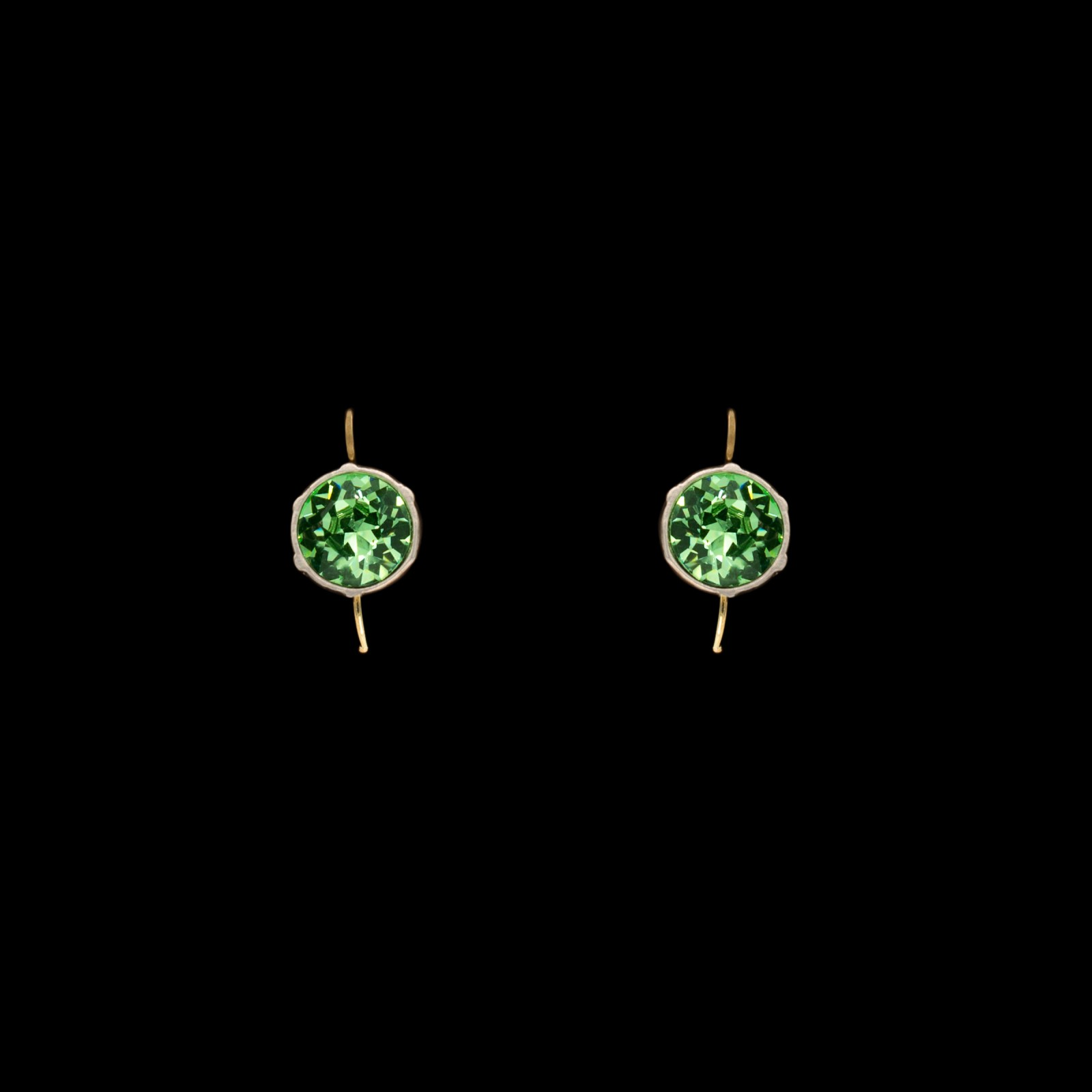 Revival Paste 2ct peridot paste headlight earrings by jeweler Roy Rover, 14K wires