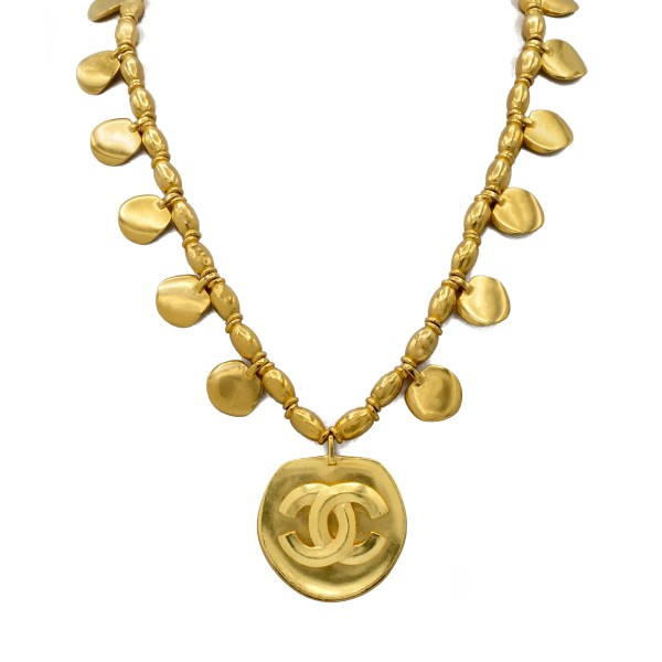 Chanel Gilt Petals & Logo Pendant Necklace, Spring 1996