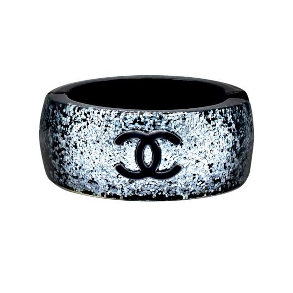 Chanel Gunmetal Silver Glitter Clamper Bangle, Autumn 2012