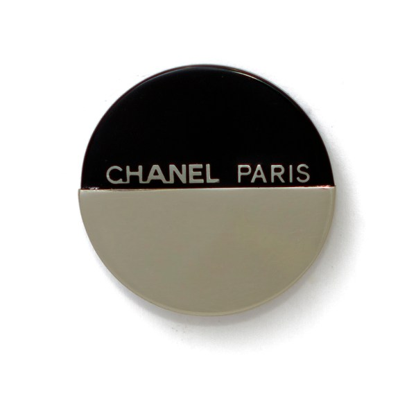 "Chanel 2"" Black & Silver Bisected Brooch, Autumn 2000"