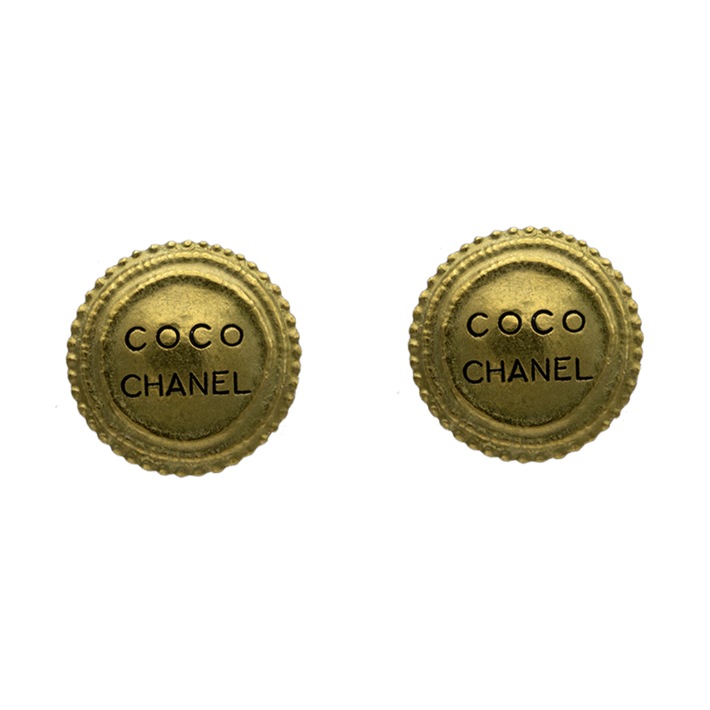 "Chanel Matte Gold ""COCO CHANEL"" Disk Earrings, Autumn 1994"