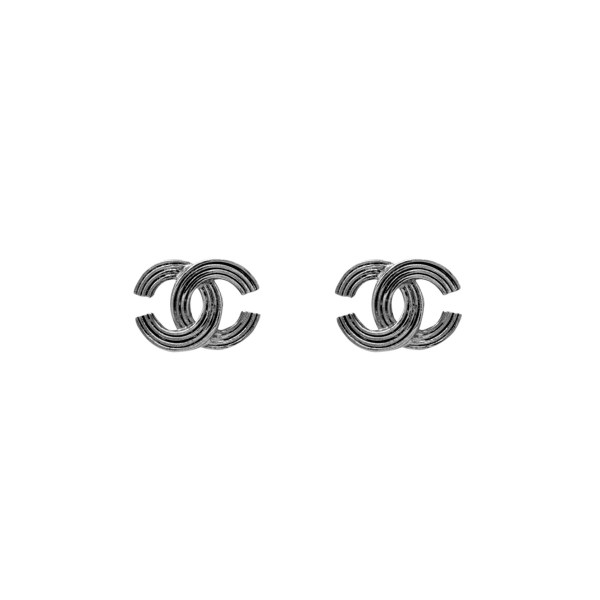 Chanel Silver Ribbed Logo Earrings, Autumn 2000
