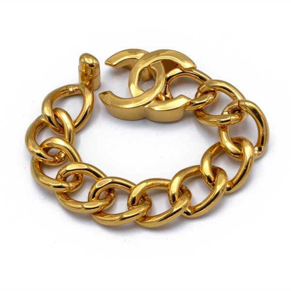 "Chanel 7 3/4"" Gilt Curb Chain Bracelet with Logo Turn-Clasp, Autumn 1996"