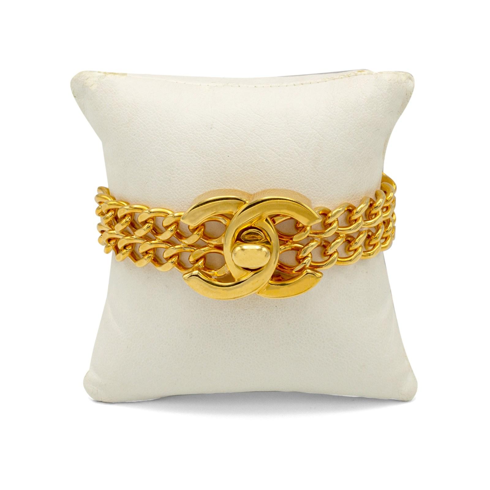 Chanel Gilt Double Strand Turn Clasp Bracelet, Spring 1997