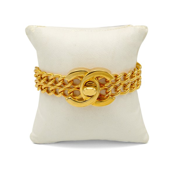 Chanel Gilt Double Strand Turn Clasp Bracelet, Spring 1997