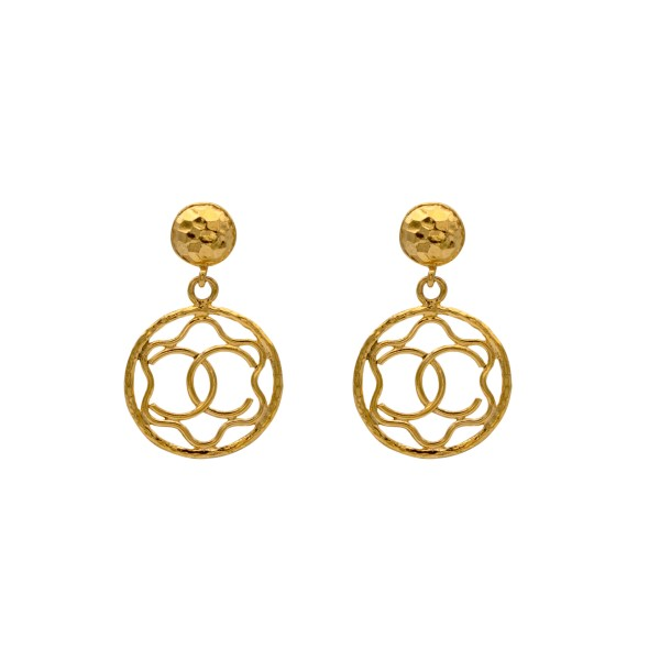"Chanel 2 3/4"" Outlined CC Logo Doorknocker Earrings, 1990"
