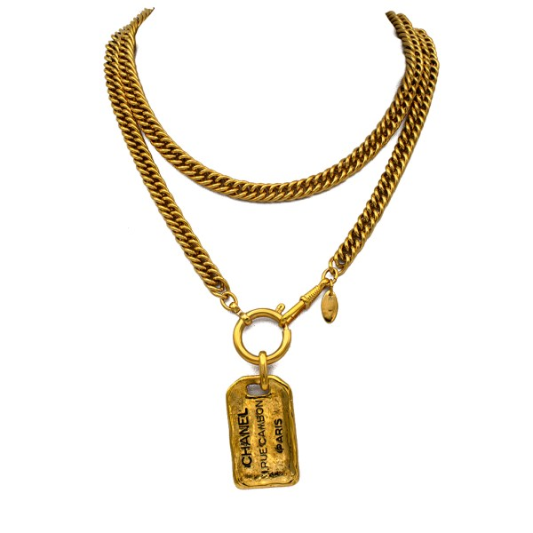 "Chanel 33"" Gilt Luggage Tag Necklace, 1990"