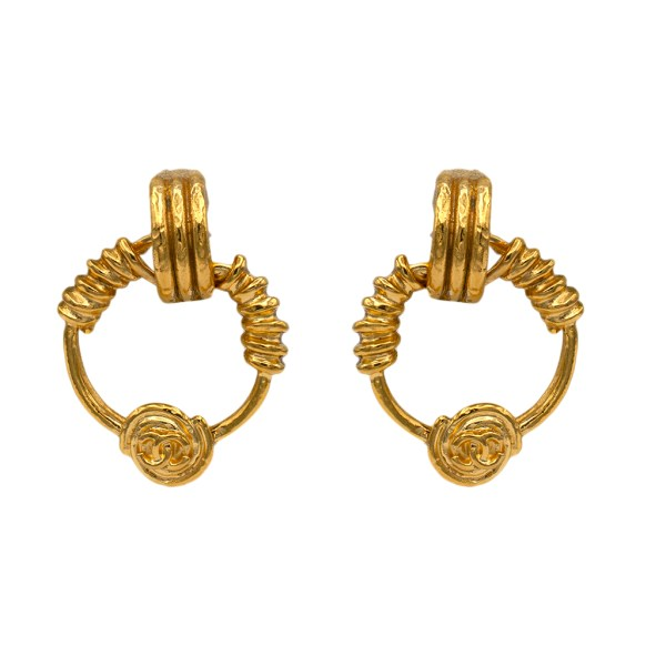 "Chanel 1 3/4"" Gilt Wire-Wrapped Doorknocker Hoop Earrings, Spring 1994"
