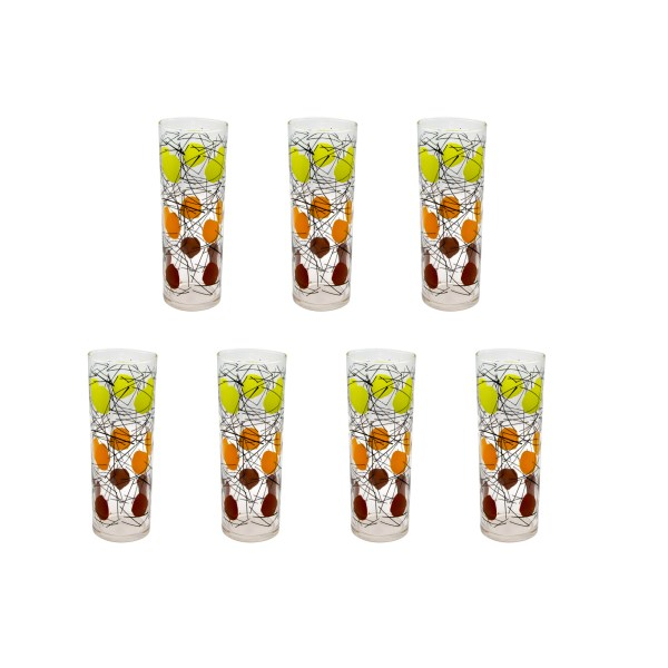 Federal Glass Green, Orange, & Brown Atomic Polka Dot Tom Collins Glasses, Set of Seven (7)