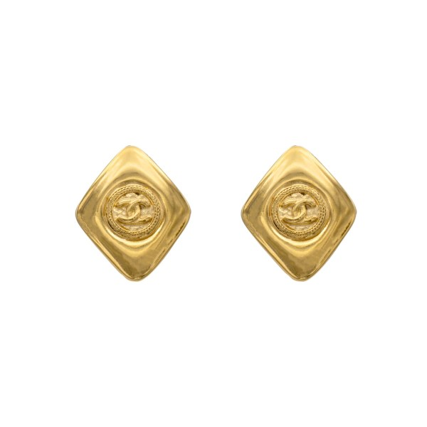 "Chanel 1 3/8"" Gilt Diamond Shape Earrings, 1990"