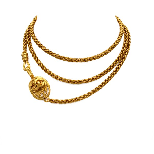 "Chanel 47 1/2"" Gilt Woven Chain Necklace with Decorative Clasp, Autumn 1995"