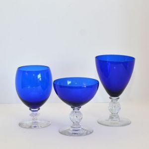 cobalt goblets with clear stem