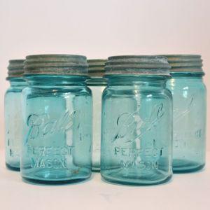 aqua pint vintage mason jar