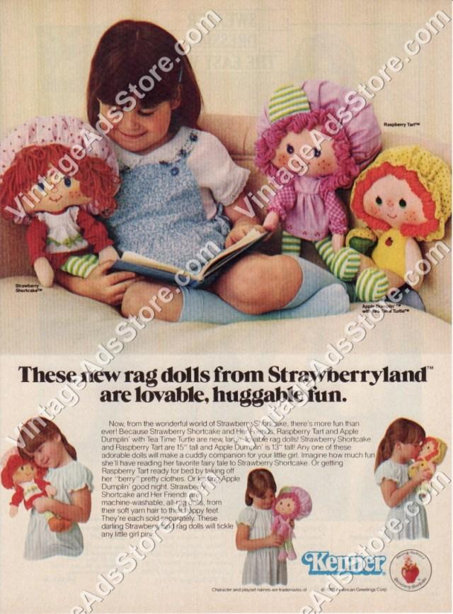 1981 Kenner Toys Strawberryland Plush Rag Dolls Strawberry