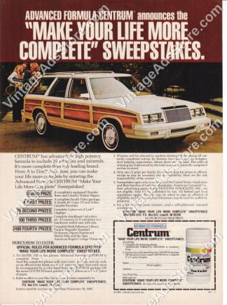 1982 – Chrysler Town and Country Station Wagon – Centrum Vitamins