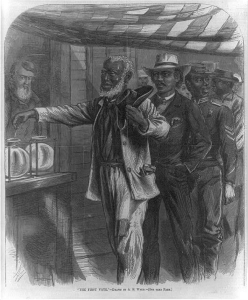 """""""The first vote"""" Drawn by A.W. Waud"""