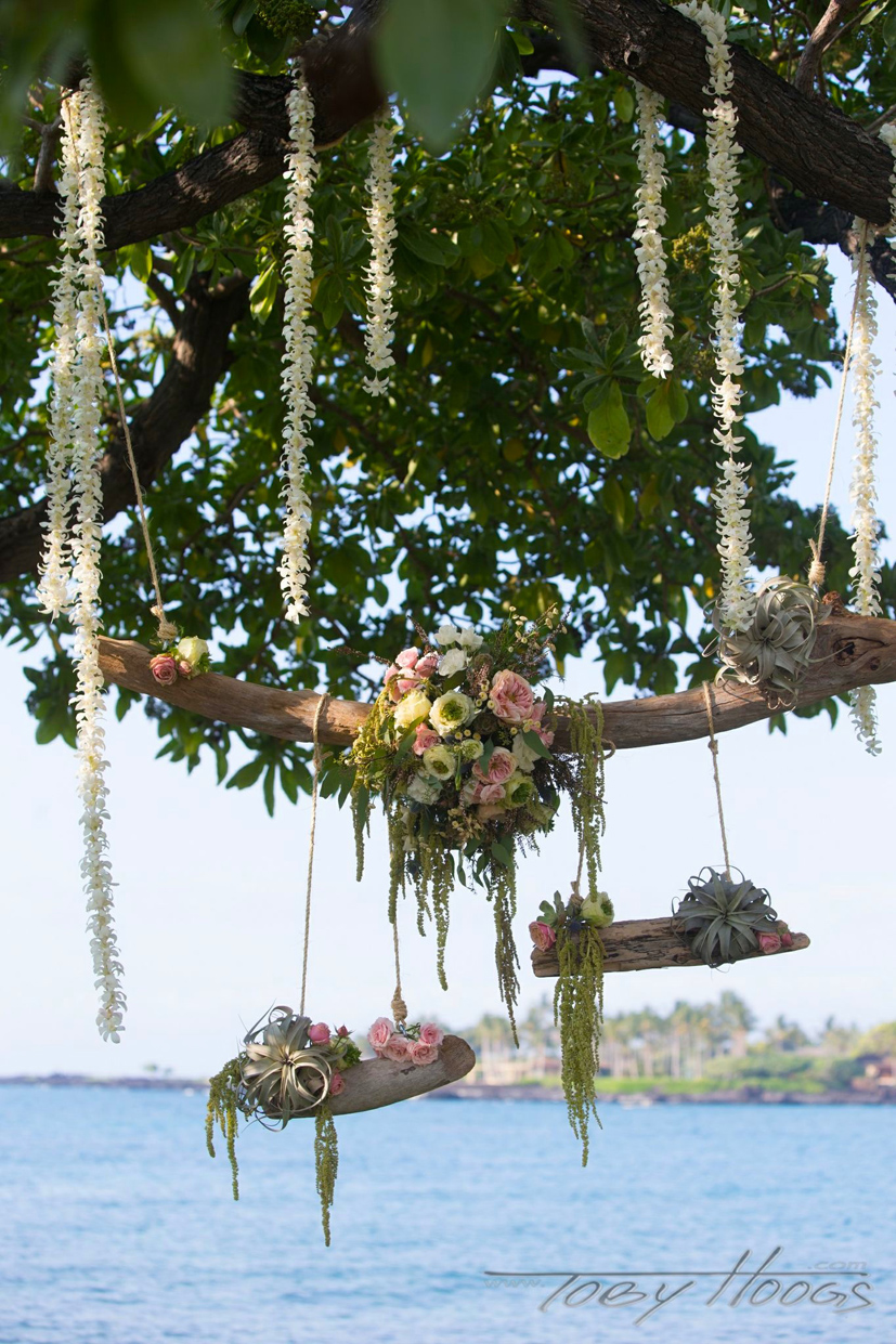 Kikaua Point Beach Wedding  Driftwood Chandelier  Kona