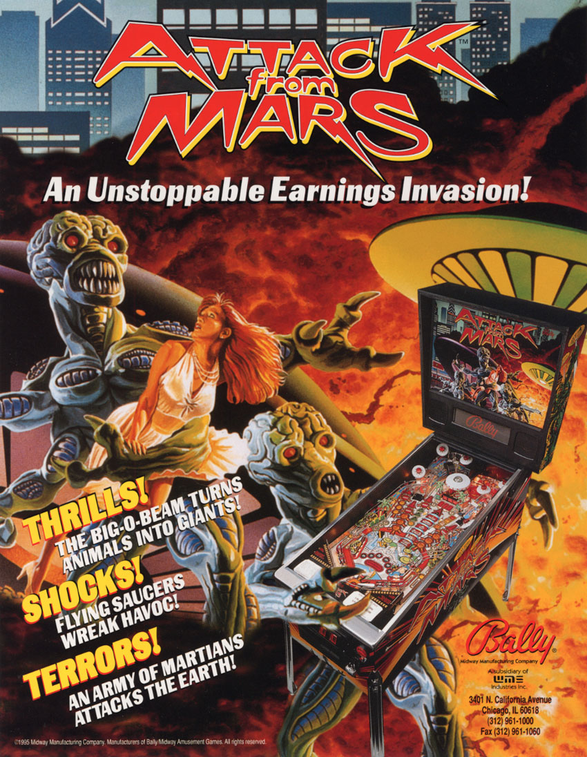 Attack From Mars Pinball Machine  Vintage Arcade Superstore