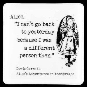 MartinMcAsseyGlass ~ Alice Fused Glass Coaster 'I Can't Go Back'