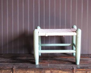 TheRustyScarecrow ~ Vintage Mint Green Chippy Paint Stool