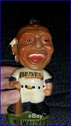 » Vtg MILWAUKEE BRAVES Indian Bobblehead Figurine Baseball