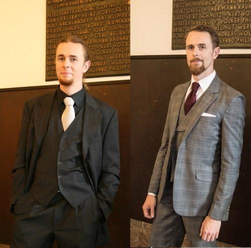 Vorher-Nachher-Bild. Links miserable Anzugkombination. Rechts ordentliches Outfit.