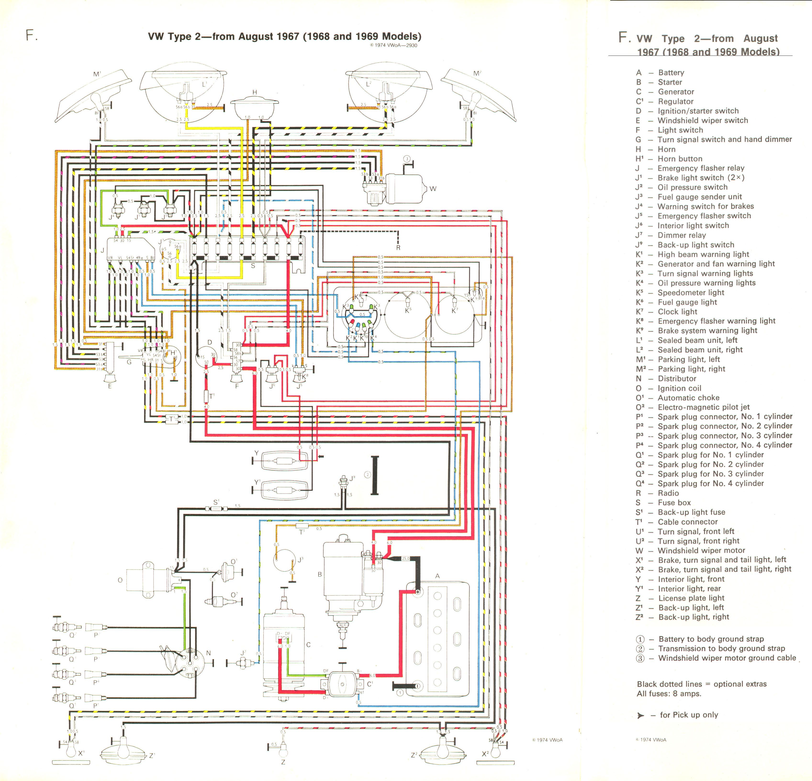 1978 vw bus wiring diagram ford focus mk1 baywindow fusebox layout august 1967 1968 and 1969 models