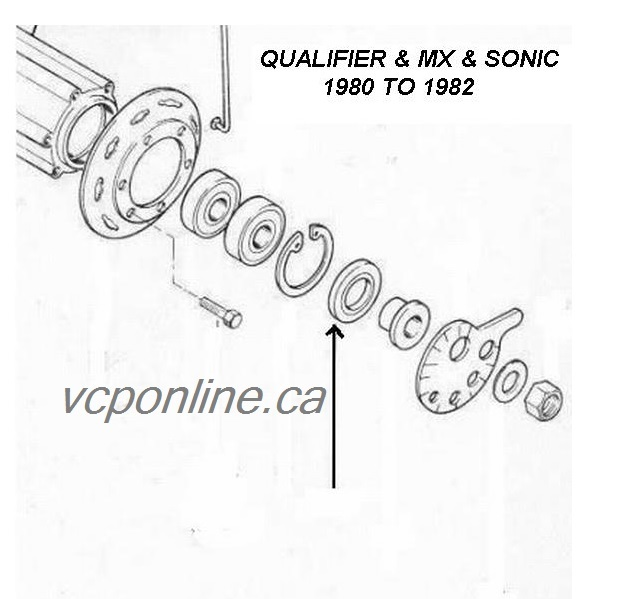 CAW009 Rear wheel seal QUALIFIER and MX 1980 to 1982 (LEFT