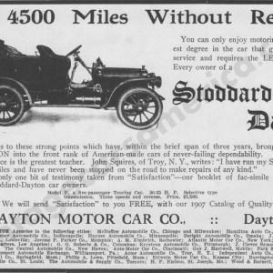 1907 Stoddard Dayton Advertisement