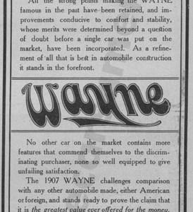 1907 Wayne Advertisement