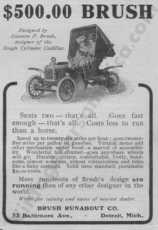 1908 Brush Advertisement