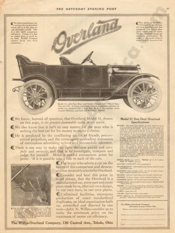 1911 Overland Advertisement #3