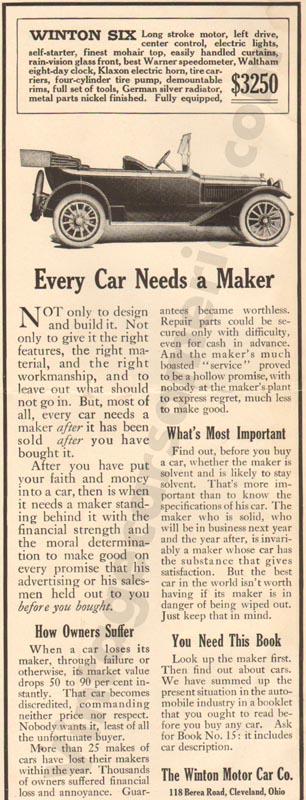 1913 Winton Advertisement #2