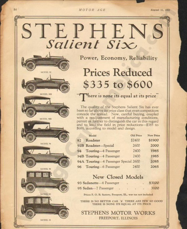 8/11/1921 Stephens Advertisement