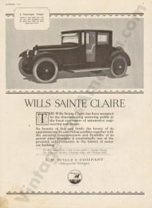 1921 Wills Saint Claire Advertisement #2