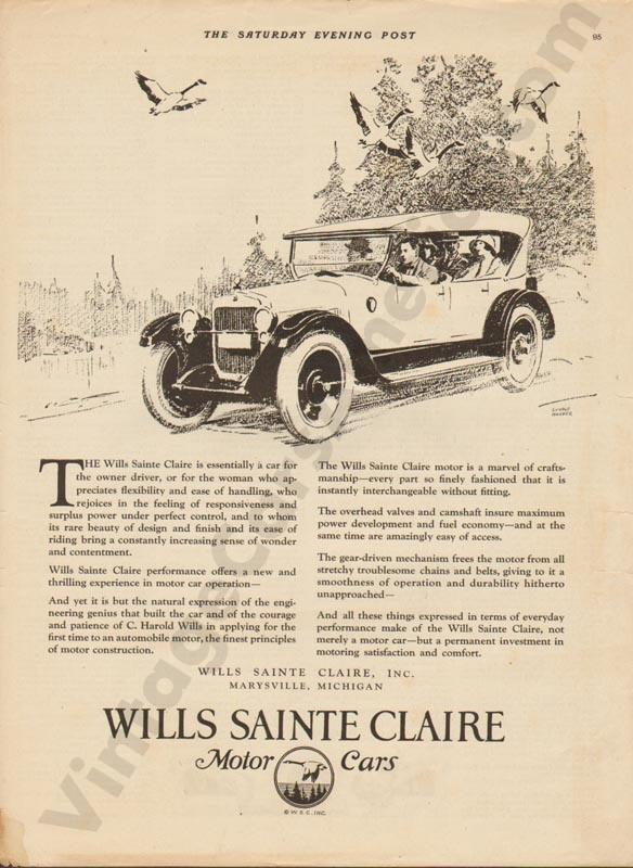 1923 Wills Saint Claire Advertisement #2