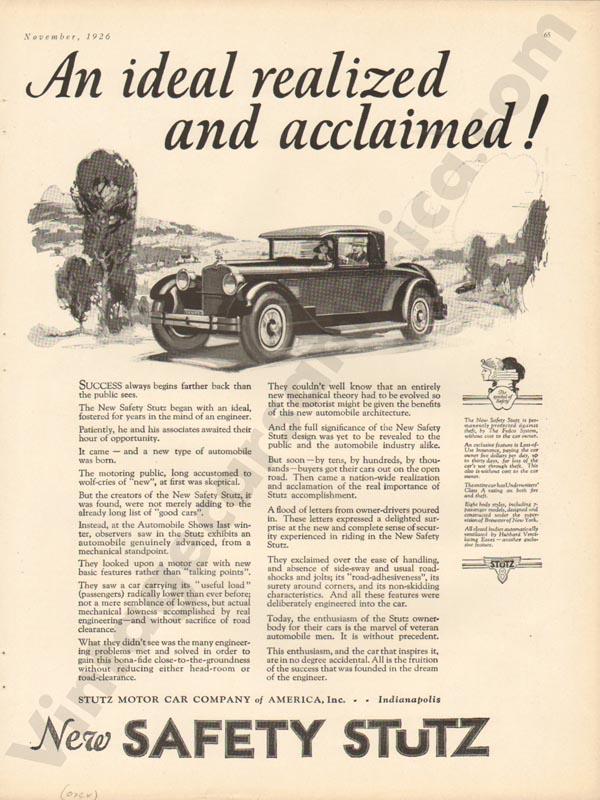 1926 Stutz Advertisement #9