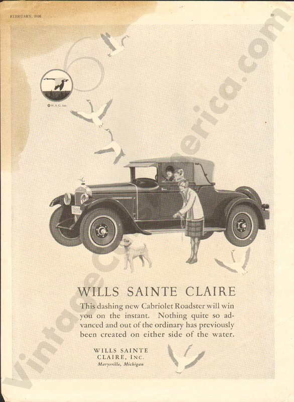1926 Wills Saint Claire Advertisement #3