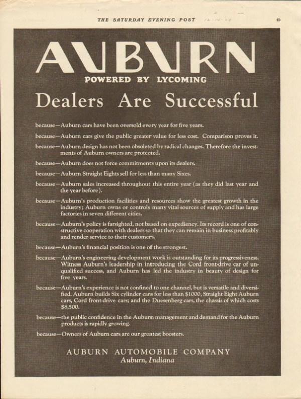 1929 Auburn Advertisement #3