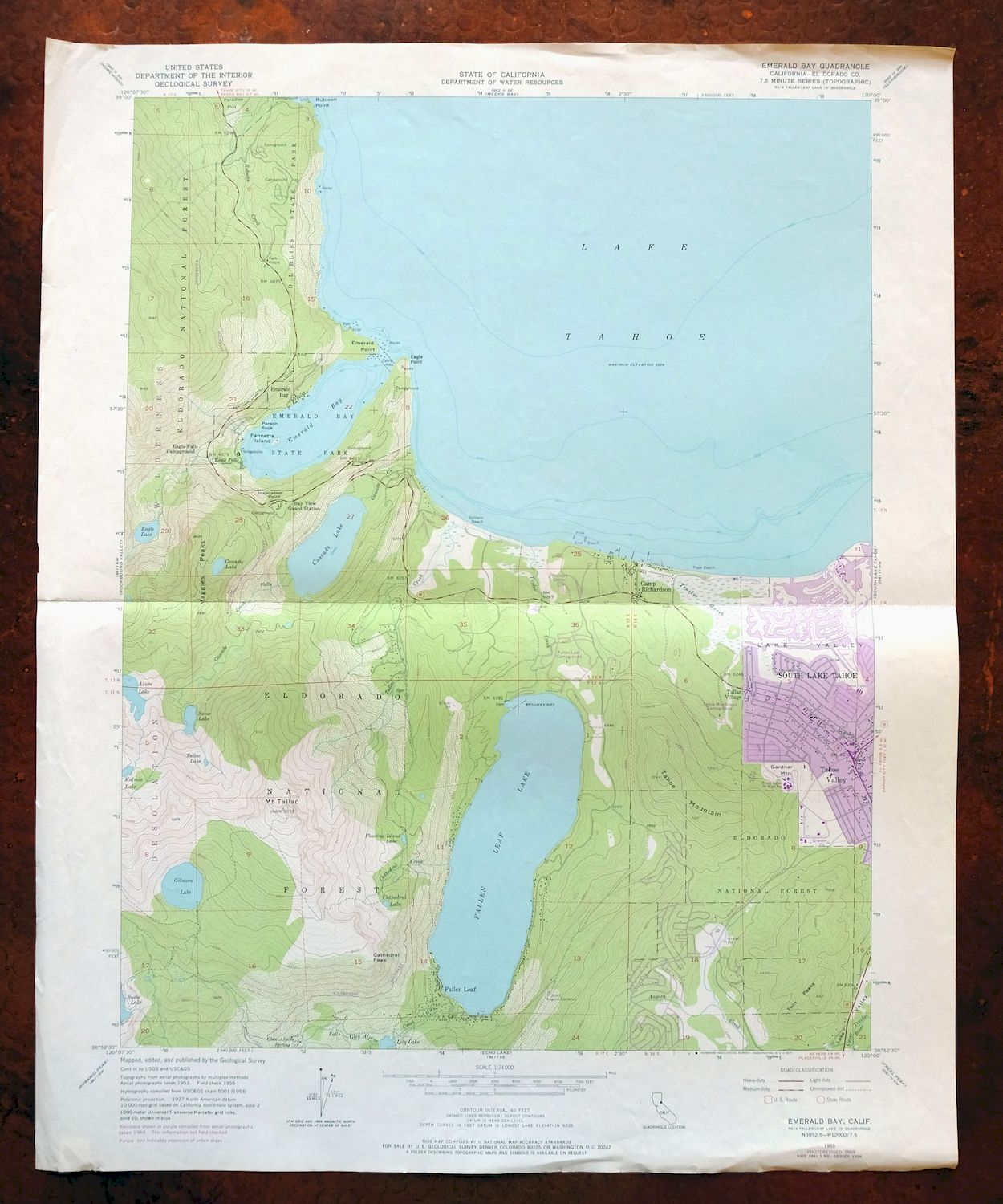 Emerald Bay California Vintage Usgs Topo Map South