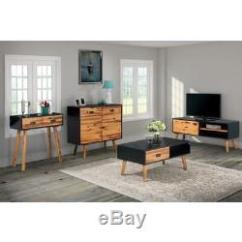 Retro Living Room Furniture Sets Microfiber Set 4pcs Vintage Tv Unit Wooden Console Coffee Table